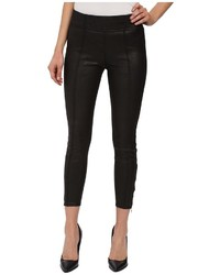 7 For All Mankind Seamed Leggings W Ankle Zips In Black Leather Like