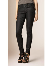 Burberry Skinny Fit Low Rise Wax Coated Jeans
