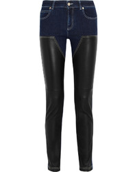 Givenchy Skinny Jeans In Dark Blue Denim And Black Leather Dark Denim
