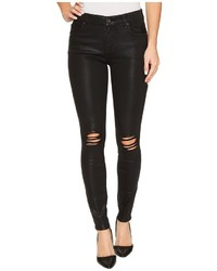 7 For All Mankind The Ankle Skinny W Destroy In Black Coated Fashion 3 Jeans