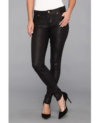 7 For All Mankind The Knee Seam Skinny W Contoured Waistband In Crackle Leather Like Black