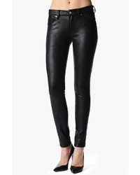 7 For All Mankind The Seamed Skinny In Crackled Leather Like Black