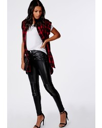 Missguided Anabel Pu Biker Trousers Black