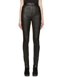 Haider Ackermann Black High Waisted Leather Pants