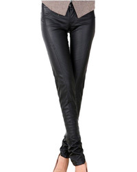 Choies Black Pu Skinny Pants