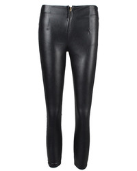 Choies Black Pu Tight Pants With Zipper Detail