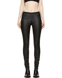 Helmut Lang Black Stretch Leather Plonge 2 Leggings