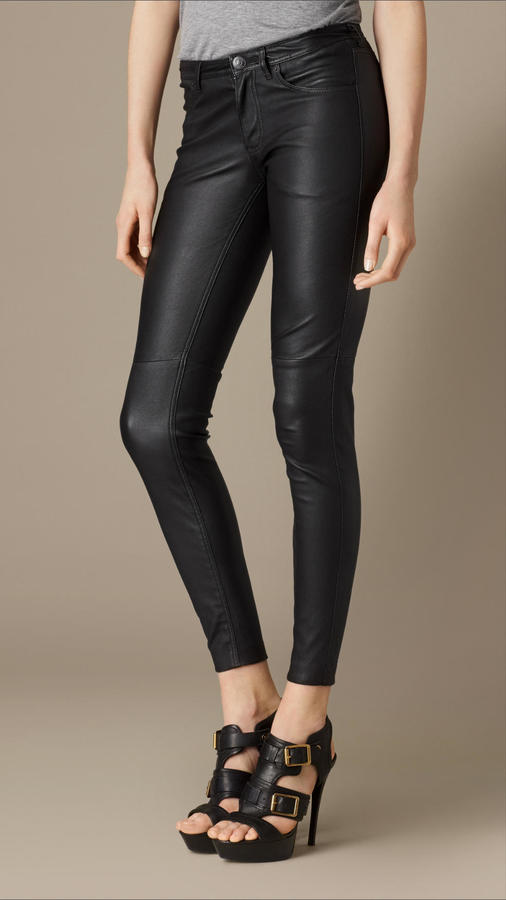 23cb1e9bf2bf5 ... Black Leather Skinny Pants Burberry Brit Skinny Fit Leather Trousers ...