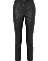 Frame Cropped Quilted Leather Straight Leg Pants