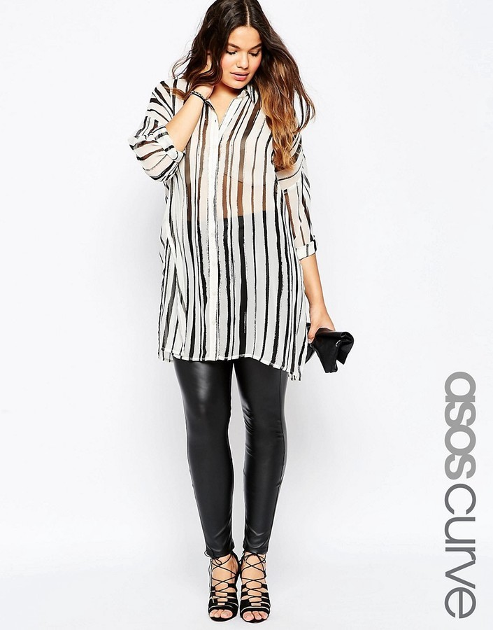 90d7dd9a0bf4f ... Asos Curve Skinny Pant In Leather Look ...