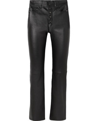 Joseph Den Leather Straight Leg Pants
