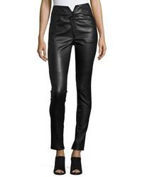 Isabel Marant Eydie Leather High Waist Skinny Pants Black