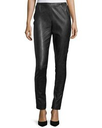Caroline Rose Faux Leather Skinny Pants Petite