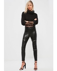 Missguided Faux Leather Zip Detail Skinny Fit Pants Black