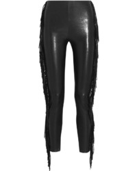 Saint Laurent Fringed Leather Skinny Pants Black