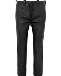 Unravel Project Lace Up Leather Straight Leg Pants