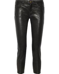 Frame Le Garcon Textured Leather Slim Boyfriend Pants Black