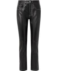 MM6 MAISON MARGIELA Leather Straight Leg Pants