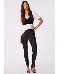Missguided Lidiar Pu Button Front Trousers Black