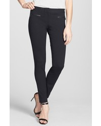 Paige Los Feliz Leather Trim Skinny Pants