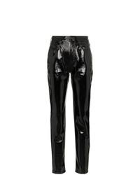 Saint Laurent Mid Rise Boyfriend Slim Vinyl Jeans