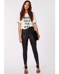 Missguided Agnes Faux Leather Zip Detail Skinny Trousers Black