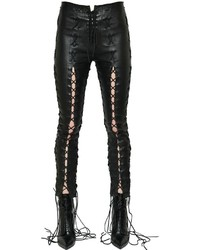 Unravel Skinny Lace Up Stretch Leather Pants