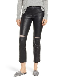 David Lerner Slice Knee Faux Leather Skinny Pants
