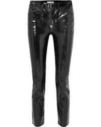 Frame Slick Cropped Patent Leather High Rise Slim Leg Pants
