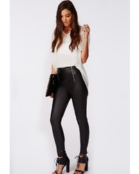 Missguided Veronika Pu Zip Waist Trousers Black