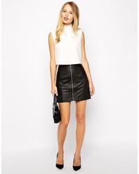Oasis Biker Faux Leather Skirt