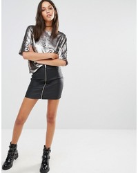 Missguided Coated Zip Front Skirt