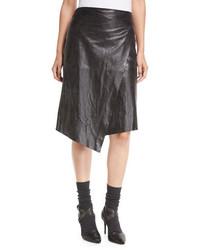 Brunello Cucinelli Leather Faux Wrap Midi Skirt