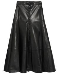 Michael Kors Michl Kors Collection Leather Midi Skirt Black