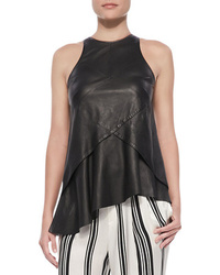Derek Lam 10 Crosby Seamed Leather Shell With Ruffle Black