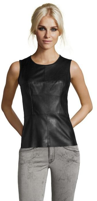 36824dad519f04 ... Wyatt Black Faux Leather Knit Patch Front Sleeveless Top