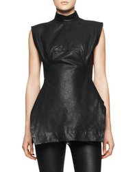 Sleeveless leather calpurnia tunic black medium 48457