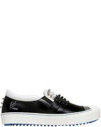 Fendi 20mm Karl Stud Leather Slip On Sneakers