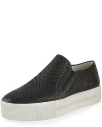 Ash Kurt Perforated Leather Slip On Sneaker Black