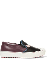 Fendi Bag Bug Leather Slip On Sneakers Black
