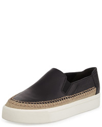 Vince Bates Leather Platform Slip On Sneaker Black