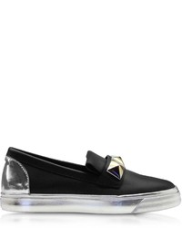 Giuseppe Zanotti Black And Silver Leather Slip On Sneaker