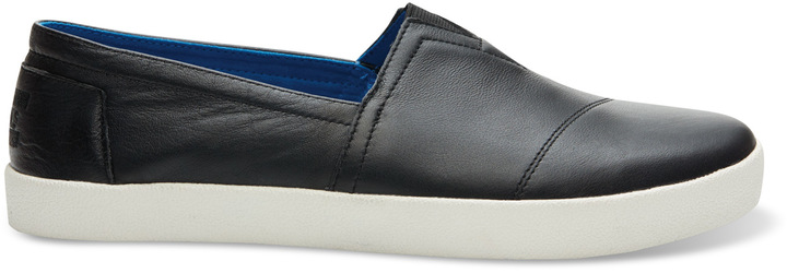 a5261dc63a7 ... Toms Black Full Grain Leather Avalon Slip Ons ...