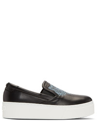 Kenzo Black K Py Tiger Platform Slip On Sneakers