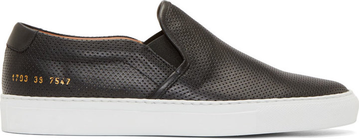 sale online pick up clearance prices $435, Common Projects Black Perforated Leather Slip On Sneakers