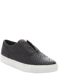 Vince Black Python Print Leather Nelson Slip On Sneakers
