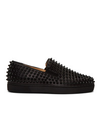 Christian Louboutin Black Roller Boat Slip On Sneakers
