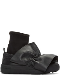 MSGM Black Ruched Trim Slip On Sneakers