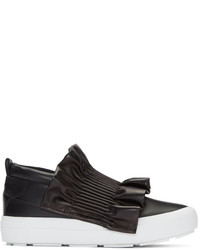 MSGM Black Ruffle Slip On Sneakers