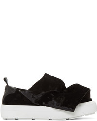 MSGM Black Velvet Ruched Slip On Sneakers